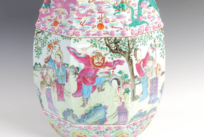 A Chinese porcelain famille rose barrel shaped garden seat, Qing Dynasty. Sold for over £4000
