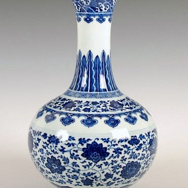 From a Collection of Chinese works of Art to include porcelain, ivories and bronzes, A Chinese blue and white porcelain bottle vase, Daoguang, 1821-1850, sold for £55,000