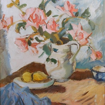 From a Private Scottish Collection of oil paintings by John Maclauchlan Milne RSA (1886-1957) Still life with pink roses, sold for £19,000