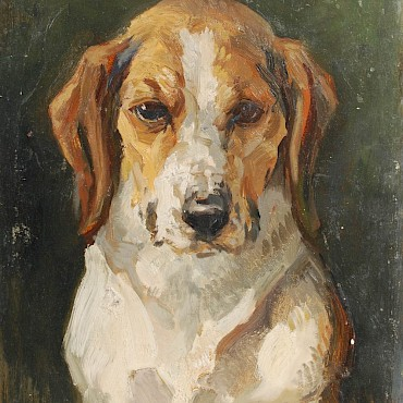 From The Studio Sale of John Murray Thomson RSA RSW PSSA (1885-1974) Portrait of a Beagle, oil on board, sold for £1,700