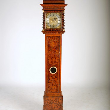 A 17th century walnut and marquetry longcase clock by E. Norris, Londini, sold for £13,000