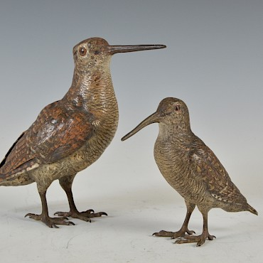 An Austrian cold painted bronze Snipe and Woodcock, sold for £3,300