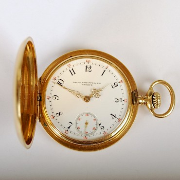 An 18ct gold Hunter cased pocket watch by Patek Philippe, Geneve, sold for £2,700