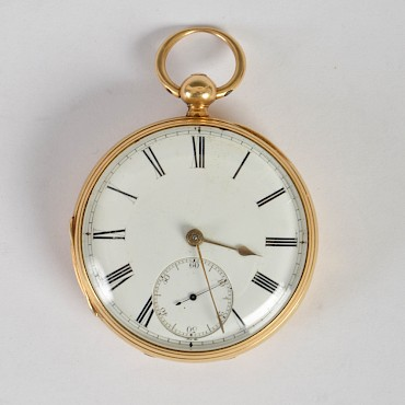 An 18ct gold open faced pocket watch, J. Watson, Aberdeen, sold for £650
