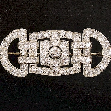 An Art Deco diamond brooch, 3.10cts, sold for £3,100