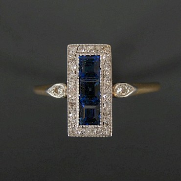An Art Deco sapphire and diamond ring, sold for £700