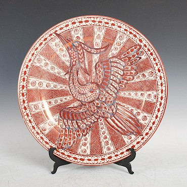A 19th century Cantagali lustre pottery charger, sold for £620