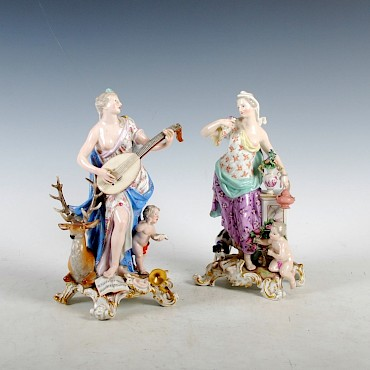 A pair of Meissen porcelain figure groups, sold for £1,950