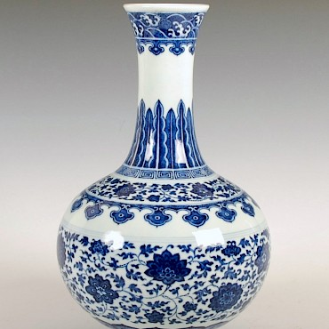 A Chinese blue and white porcelain bottle vase, Daoguang, 1821-1850, sold for £55,000