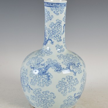 A Chinese blue and white porcelain bottle vase, Qing Dynasty, sold for £11,000