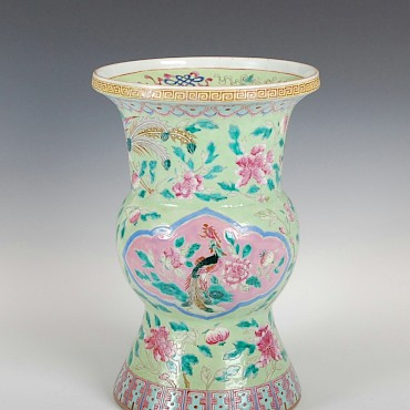 A Chinese porcelain green ground vase, Qing Dynasty, sold for £2,600