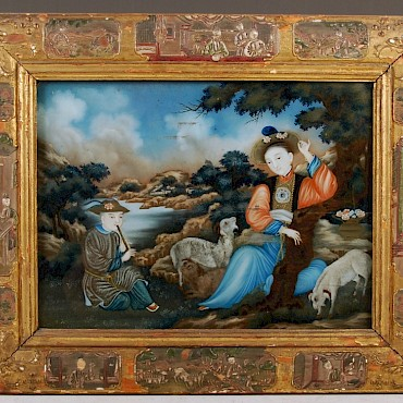 A Chinese reverse painting on glass, in original frame, Qing Dynasty, sold for £7,200