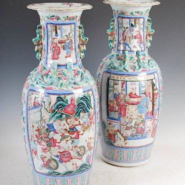 A large pair of Chinese porcelain famille rose Canton vases, Qing Dynasty, £4,500