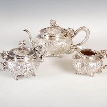 A late 19th century Chinese silver tea set by Wang Hing, Qing Dynasty, sold for £4,200