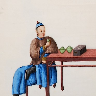 From a 19th century Chinese album of twelve watercolours depicting tea production, Qing Dynasty, £2,600