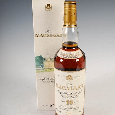 The Macallan Single Highland Malt Scotch Whisky, 10 years old, sold for £180