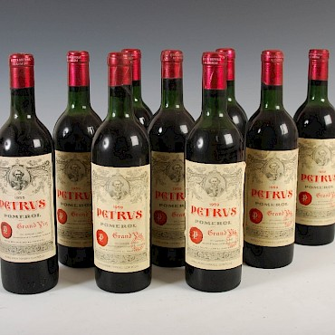 Eight bottles of Petrus Pomerol Grand Vin, 1959, and one bottle of Petrus Pomerol Grand Vin, 1955, sold for £9,500