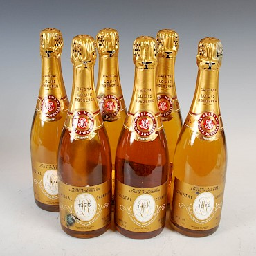 Six bottles of Louis Roederer Cristal Champagne, 1976, sold for £2,050