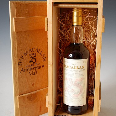 The Macallan Anniversary Single Highland Malt Scotch Whisky, 25 years old, distilled in 1964, sold for £1,700