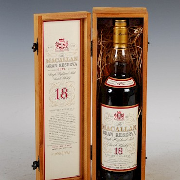 The Macallan Gran Reserva Single Malt, 18 years old, Distilled in 1979, bottled in 1997, sold for £800