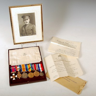 A Great War DSO group of six medals awarded to Captain A. G. Hebblethwaite, sold for £2,000