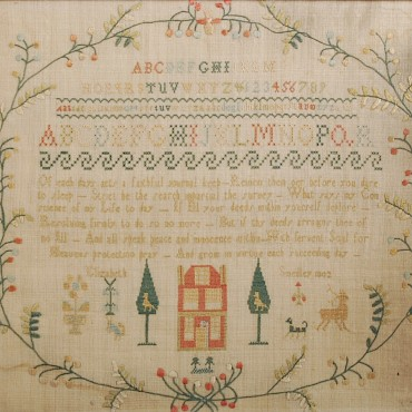 A Regency needlework sampler by Elizabeth Smedley, dated 1802,sold for £320