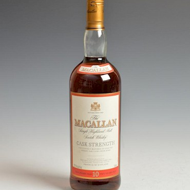 Lot 249B. The Macallan, Single Highland Malt Scotch Whisky, Cask Strength, 10 years old, unboxed, sold for £420