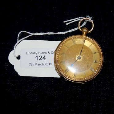 Lot 124. An 18ct gold open faced pocket watch, sold for £500