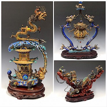 From a group of Chinese silver gilt and enamel filigree and semi-precious stone set Dragon and Shishi groups, sold for £3,500