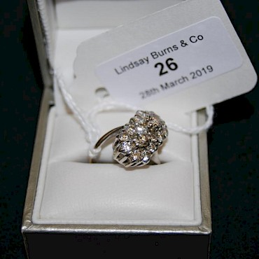 Lot 26. Diamond double flower cluster ring, 18ct white gold mount, sold for £700